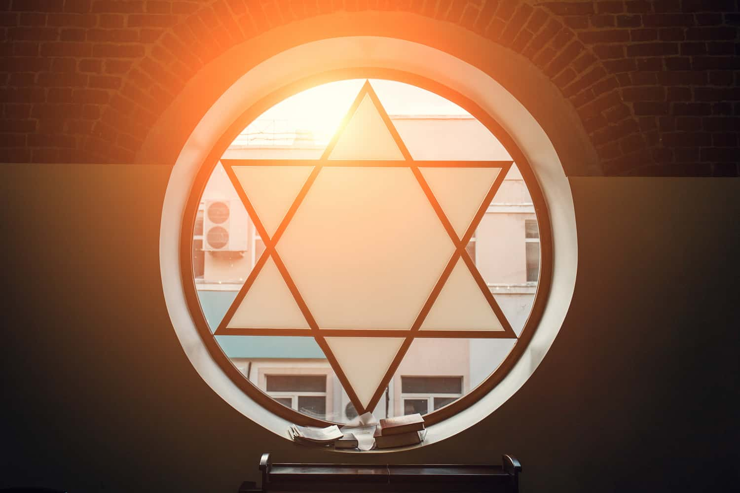 Synagogue window in the form of a Star of David
